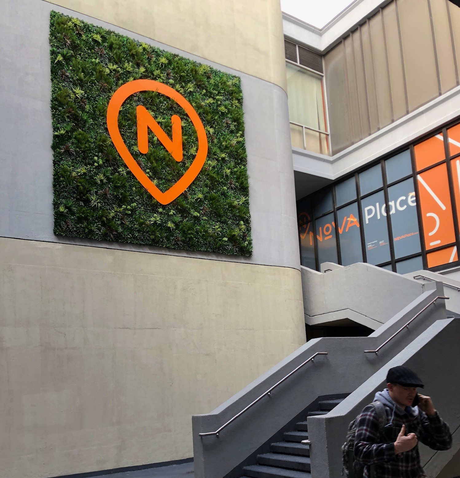 Nova Place, Pittsburgh, PA, Green Wall, Artificial Living Wall with Logo