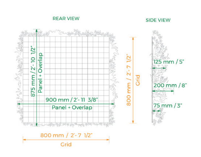 green wall specifications - living wall details for vistagreen artifiical living walls on caddetails vista green cad details